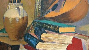 Antonio Sicurezza Still Life With Books And Mandolin