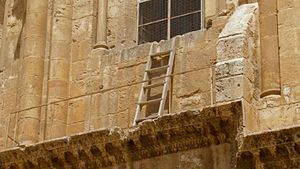 Immovable Ladder On Ledge Over Entrance To Church Of The Holy Sepulchre