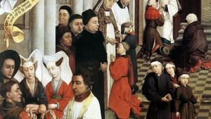 Rogier Van Der Weyden Seven Sacraments Altarpiece Baptism Confirmation And Penance Detail Left Wing