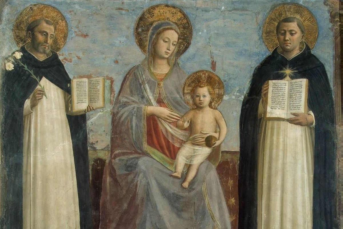 Fra Angelico Virgin Mary With Aquinas And Dominic
