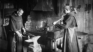 Two Monks Working In The Blacksmith Shop At Mission Santa Barbara Ca