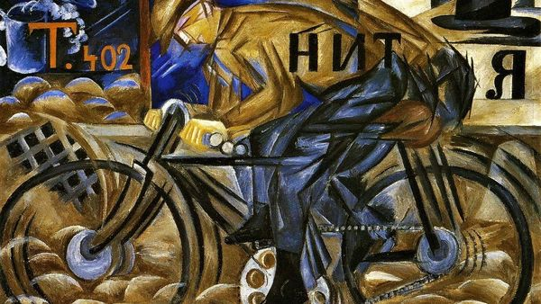 Natalia Goncharova 1913 The Cyclist Oil On Canvas 78 X 105 Cm The Russian Museum St