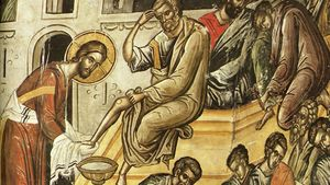 Jesus Washes Disciples Feet Crop