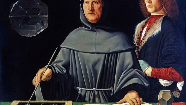 1100 Jacopo De Barbari Attributed To Portrait Of Luca Pacioli 1445 1517 With A Student Guidobaldo Da Montefeltro 2