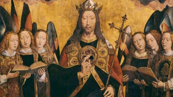 1500 Memling Christ King With Angels